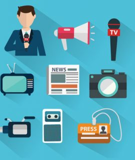 39187001 - news cast journalism television radio press conference concept, vector illustration. icons set in flat design style spokesperson, camera, interview, microphone, tv etc
